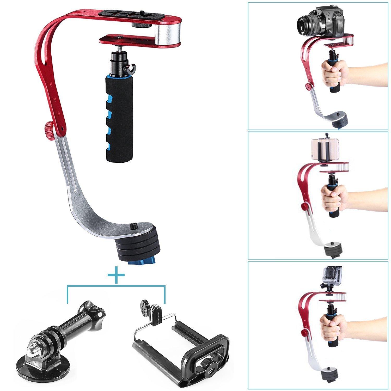Estabilizador de mango Neewer® en aleación de aluminio, capacidad de carga 1 kg, con clip de teléfono y adaptador de montaje, para cámaras réflex digitales como Nikon, Canon, Sony A7/A7II/A7R/A7S, iPhone 6S/6/5S/5/4S/4, Gopro