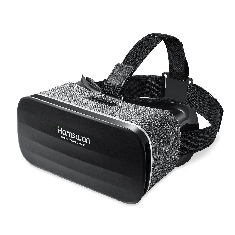3D VR Gafas de Realidad Virtual, [Regalos Para Padre] HAMSWAN VR Glasses Peso Ligero 238g Visión Panorámico 360 Grado Película 3D Juego Immersivo para Móviles IOS Android de 4.0 Hasta 6.0 Pulgada