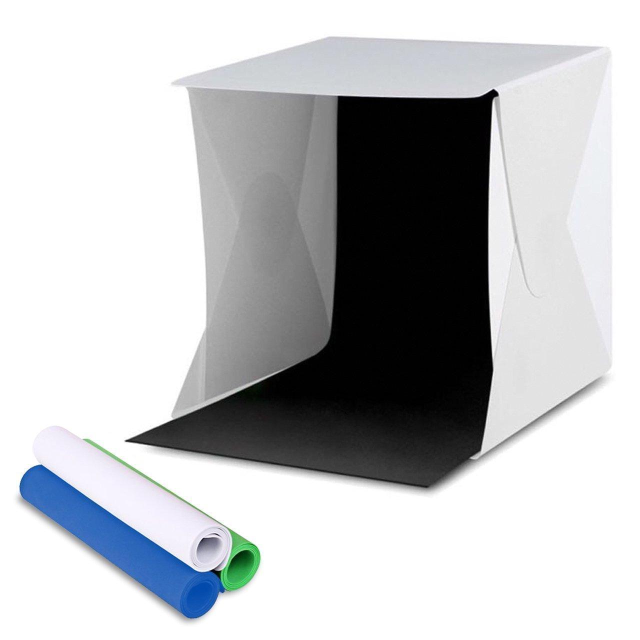 Amzdeal Caja de fotografía/ Caja de luz portátil para hacer fotos a objetos de pequeño tamaño 30 x 30 cm con cuatro fondos negro/ blanco/azul/verde