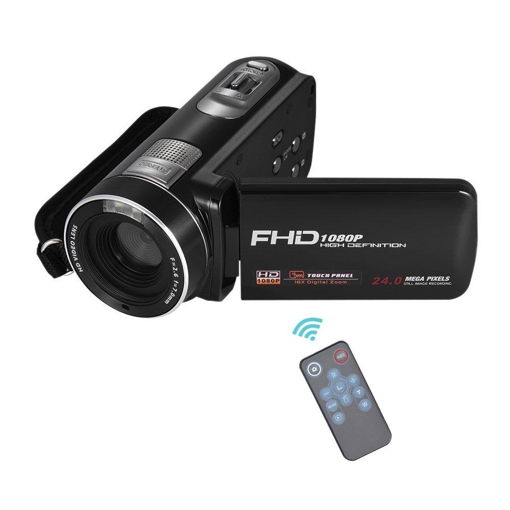 Andoer 1080P Full HD 16× Digital Zoom Digital Video Cámara con Pantalla LCD Táctil de Rotación Digital Apoyo Detección de la Cara