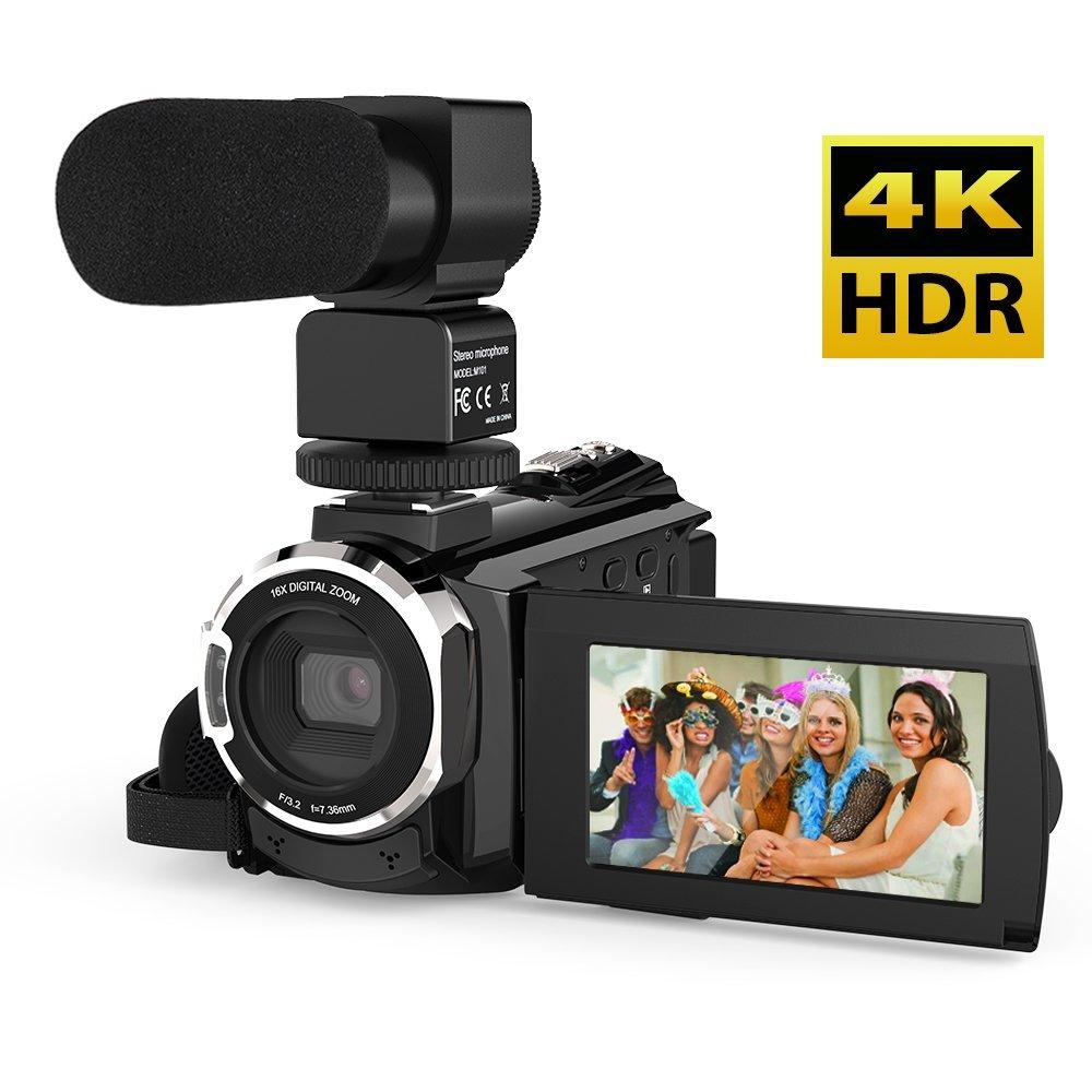 Andoer 4K 1080P 48MP WiFi Cámara de Video Digital Grabadora de Videocámara con Micrófono Externo Novatek 96660 Táctil Capacitiva IR Visión Nocturna Infrarroja 16X Zoom Digital