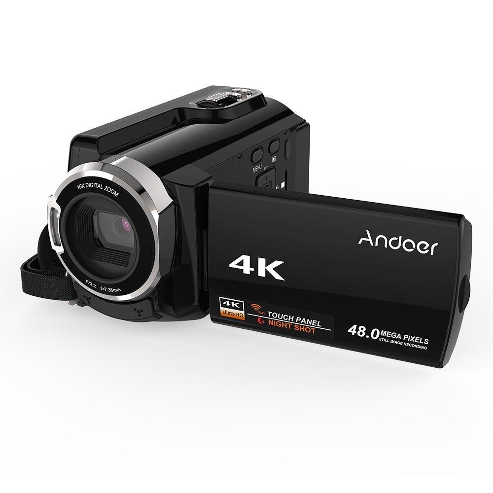 """Andoer Full HD Cámara Digital Mini Videocámara Portátil Videocámara Videocámara Digital 4K 48MP con Pantalla Táctil de 3 """"con Visión Nocturna por Infrarrojos Soporta Almacenamiento Máximo de 16X Zoom"""