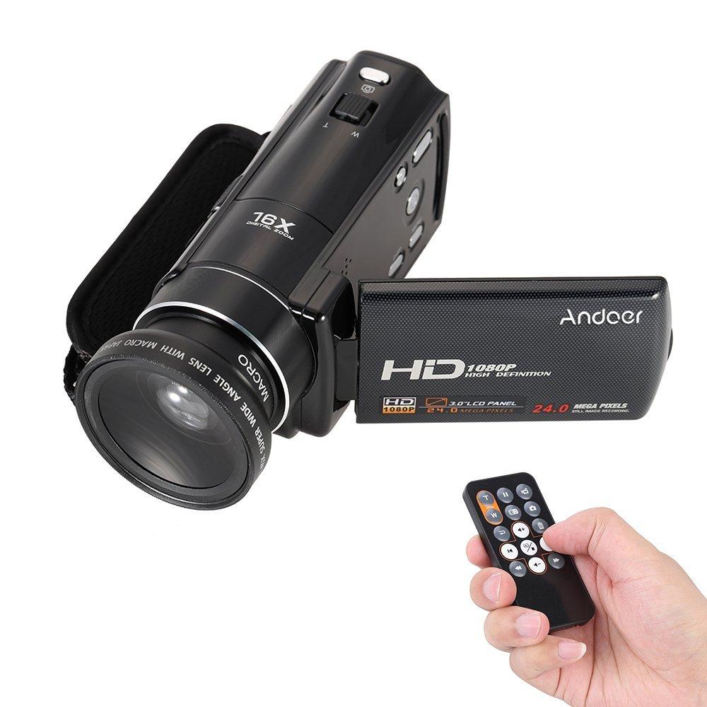 "Andoer HDV-V7 1080P Full HD Cámara Digital Videocámara Max. 24 Megapíxeles 16× Digital Zoom con 3.0"" Giratoria LCD Pantalla con 37mm 0.45× Lente Gran Angular"