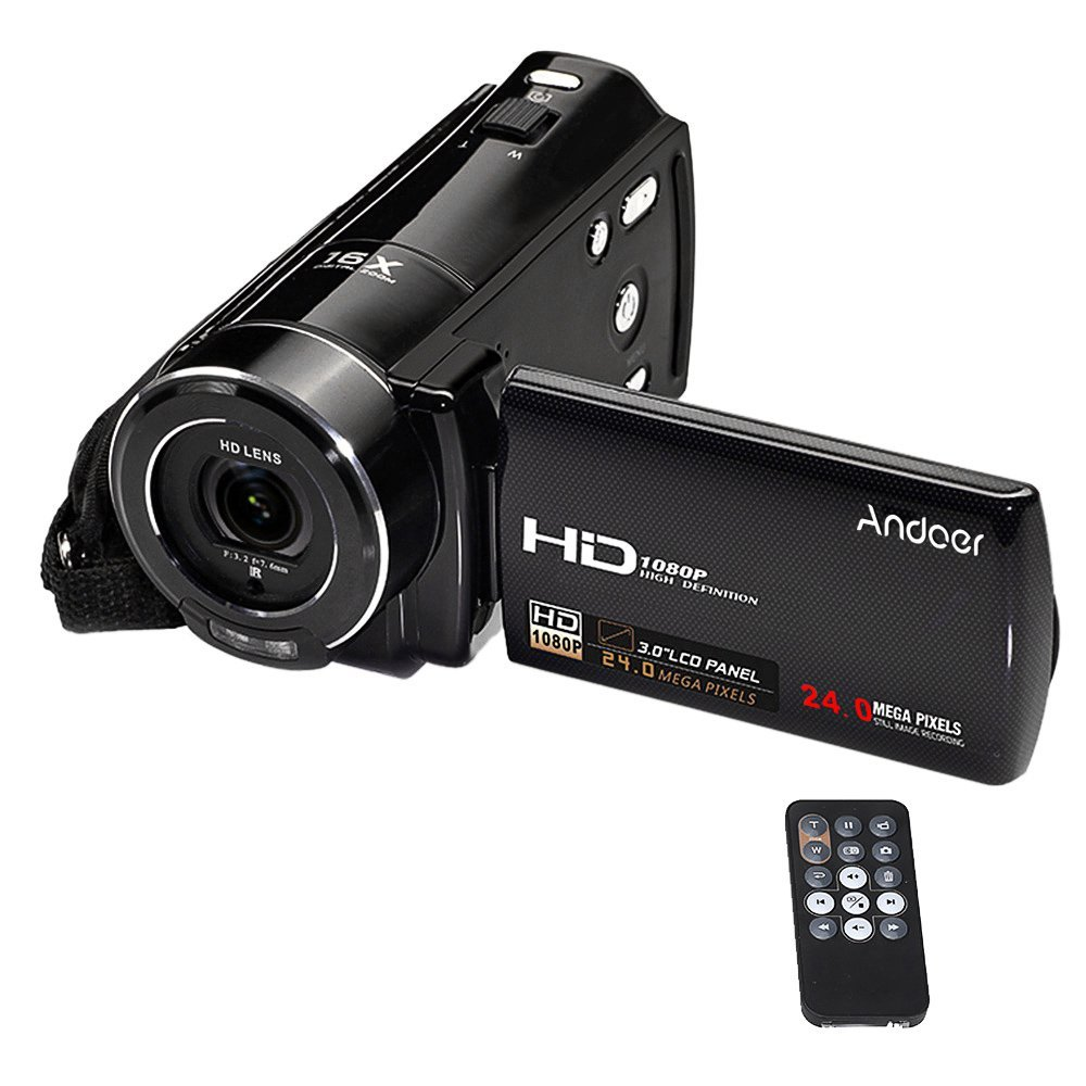 """Andoer HDV-V7 1080p Full HD Cámara Digital Videocámara Max. 24 Megapíxeles 16× Digital Zoom con 3.0"""" Giratoria LCD Pantalla"""