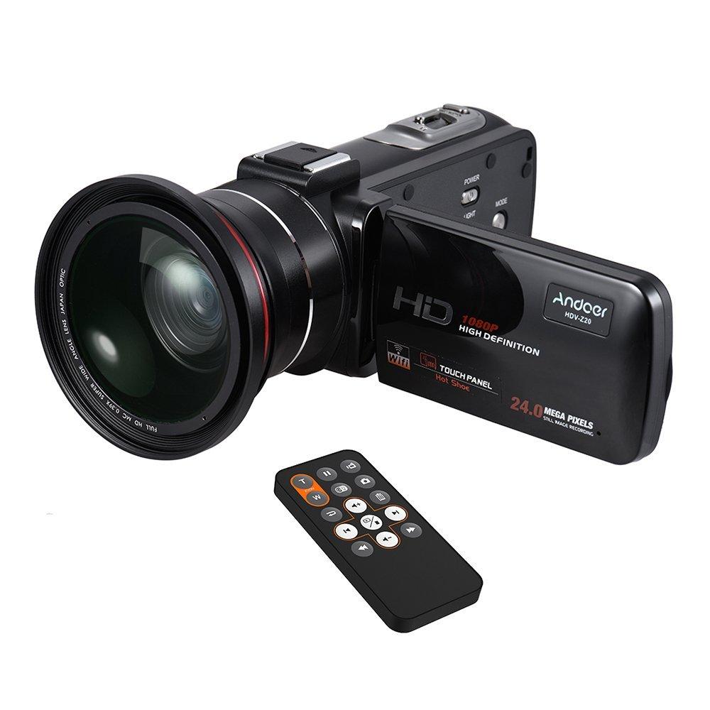 """Andoer HDV-Z20 1080P Full HD 24MP Cámara de Vídeo Digital WiFi con 0.39xGranangular + Lente macro 3,0 """" LCD Giratorio con Pantalla Táctil de Control Remoto Apoye la Lámpara Digital del Zumbido 16xLED"""