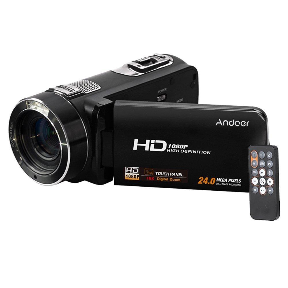 Andoer HDV-Z8 1080P Full HD Cámara Digital Videocámara 16× Digital Zoom con Rotación Digital Táctil LCD Pantalla Max. 24 Megapíxeles