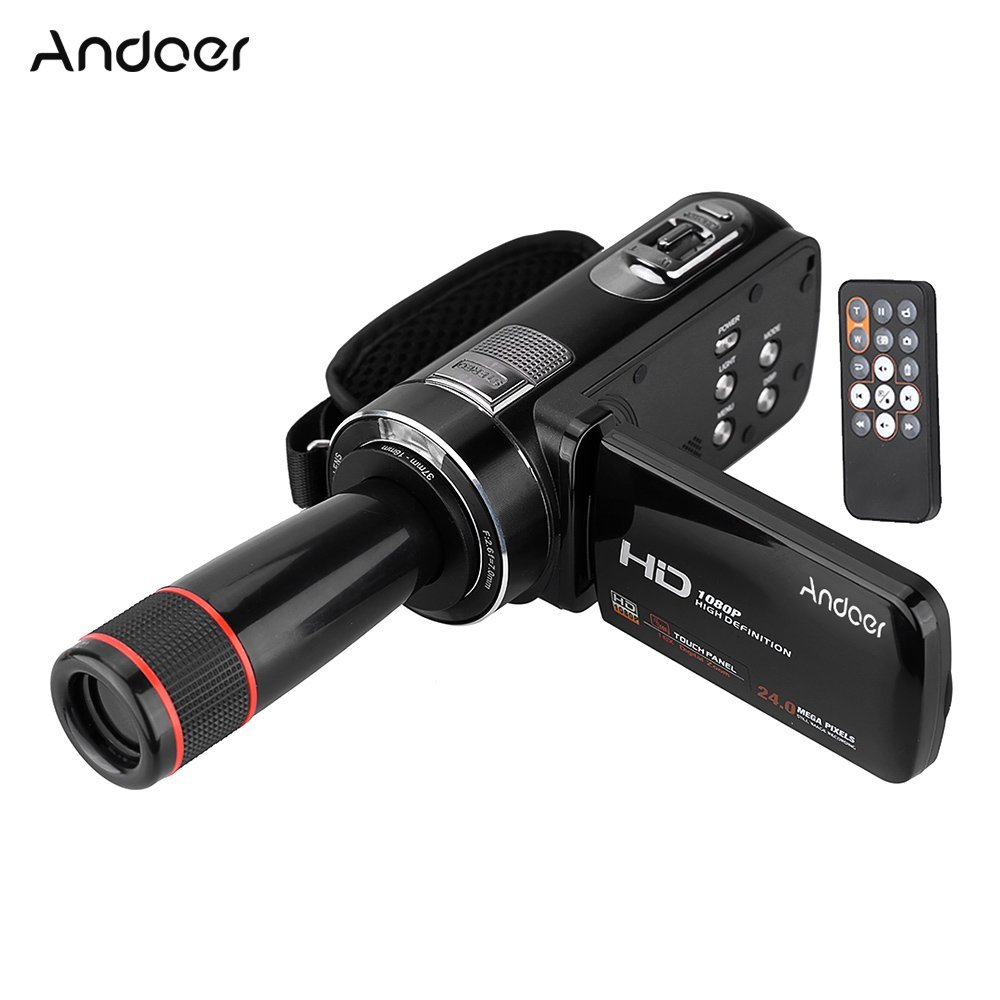 Andoer HDV-Z8 1080P Full HD Cámara Digital Videocámara 16× Digital Zoom con Rotación Digital Táctil LCD Pantalla con 12× Teleobjetivo Lente