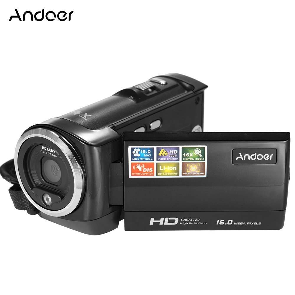 Andoer Mini Portátil LCD Pantalla HD 16MP 16X Zoom Digital 720P 30 FPS Anti-vibración Grabador de Vídeo Digital Cámara Videocámara DV DVR