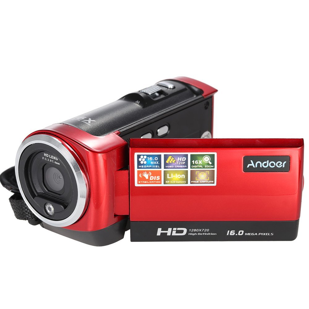 Andoer® Mini Portátil LCD Pantalla HD 16MP 16X Zoom Digital 720P 30FPS Anti Vibración Videocámara DVR DV Vídeo Digital