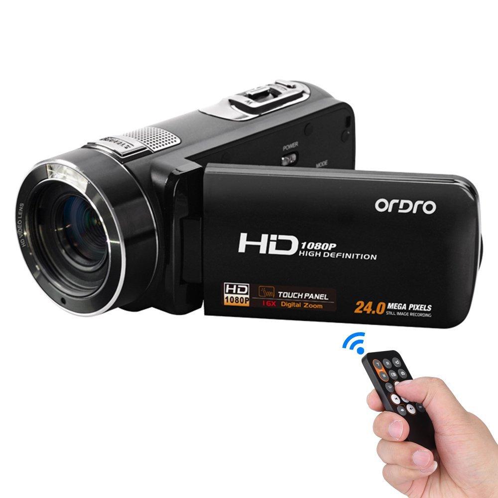 Andoer ORDRO HDV-Z8 1080P Full HD Digital Videocámara Cámara 16 × Zoom Digital con Rotación Digital LCD Pantalla Táctil Max. 24 Megapíxeles Soporte Reconocimiento Facial