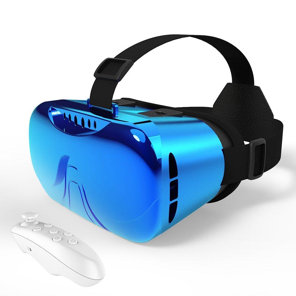 "Caja VR con Controlador Metálico para Juegos de Película 3D Compatible con Teléfono Inteligente de 3.5 ""-6"" (azul)"