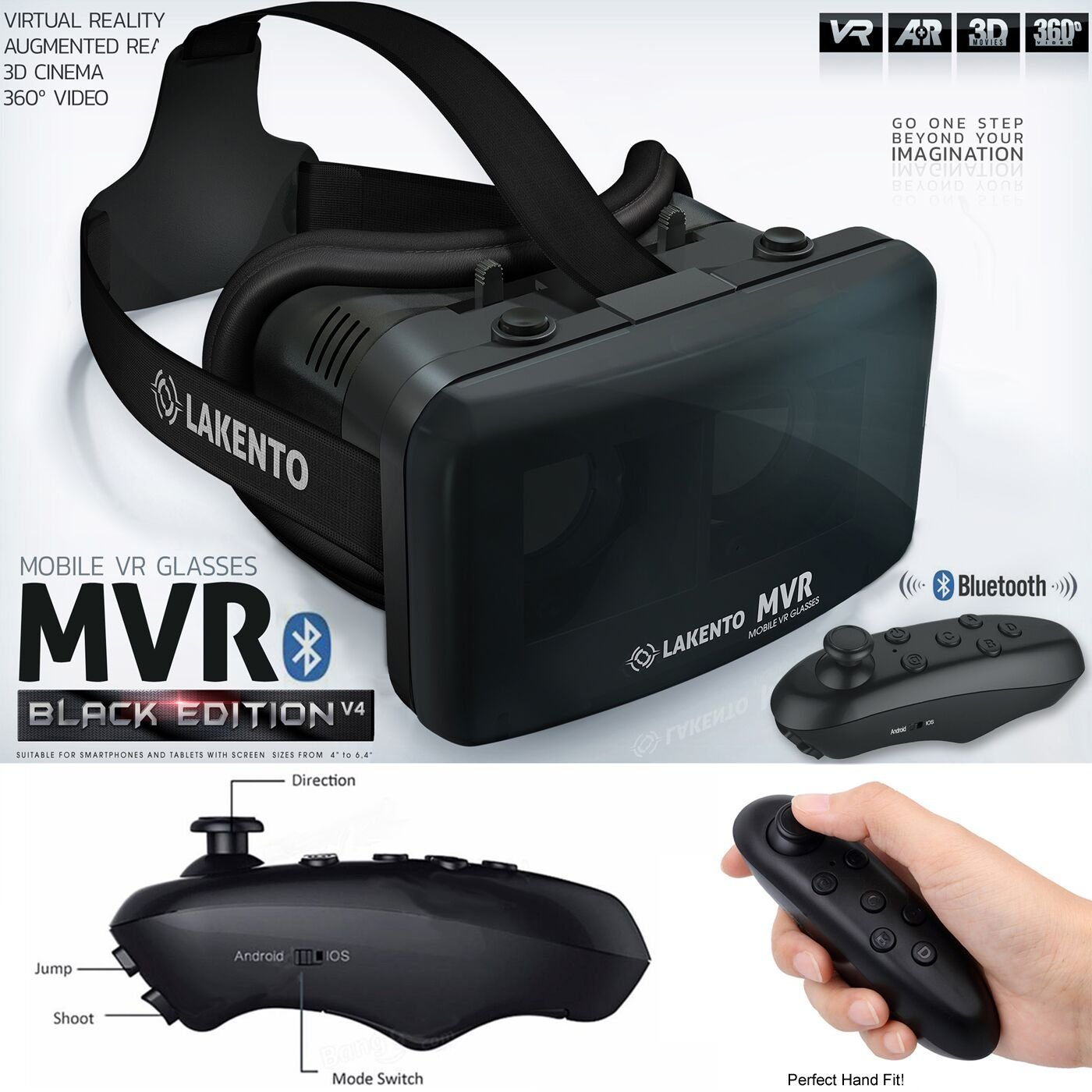 Gafas de realidad virtual LAKENTO MVR v4 + Mando bluetooth + 2 juegos. El mejor regalo! Gafas VR con mando para móviles Android e iOS y juegos gratis. Gafas 3D + Joystick Bluetooth + juegos incluidos