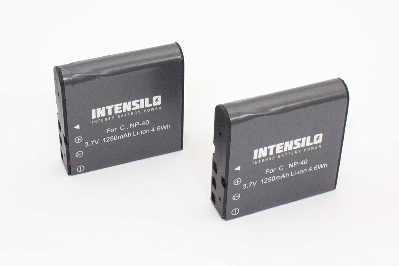 INTENSILO 2 x Li-Ion batería 1250mAh (3.7V) para videocámara cámara de video Praktica 10.10 FHD, DV-HD12, DVC 14.1 HDMI, DX-1, DX1 por NP-40.
