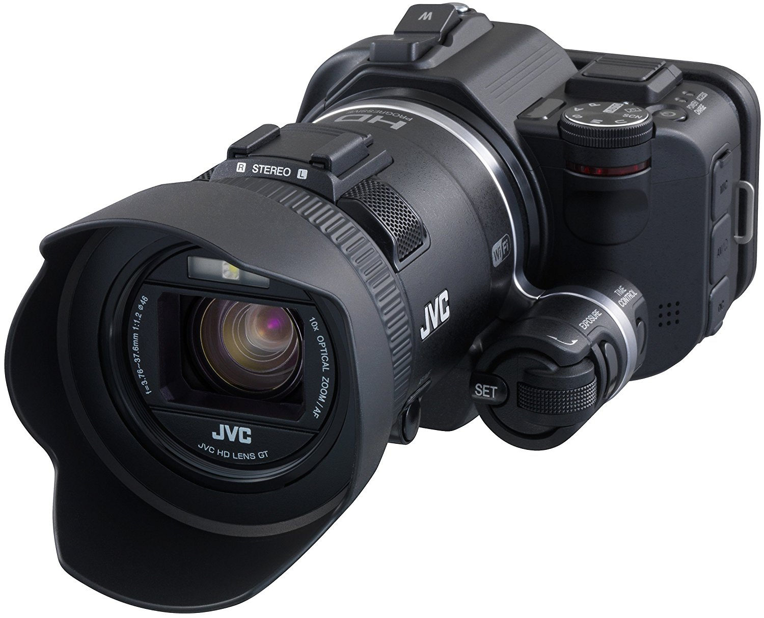 "JVC GC-PX100BEU - Videocámara Full HD (12.8 Mp, WiFi, pantalla 3"", HDMI), color negro"