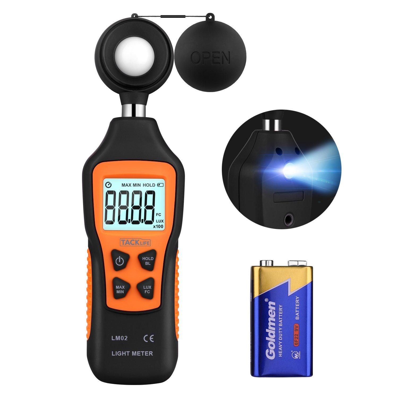 Medidor de Luz, Tacklife LM02 Fotómetro con Linterna, Dos Unidades (200~200,000 Lux, 20~20,000 FC), LCD Retroiluminada, Batería Incluida de 9 V, Conservar los Datos de MAX / MIN