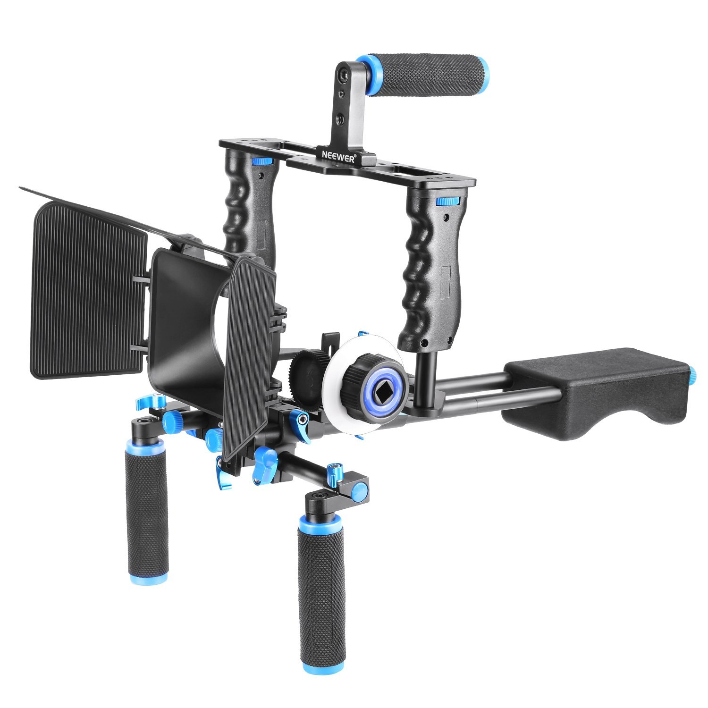 Neewer Jaula Rig Sistema Filmación Aluminio Kit para Canon/Nikon/Pentax/Sony y otras Cámaras DSLR:(1)Jaula Video+(1)Agarre Superior +(2)15mm Barra+(1)Caja Mate+(1)Enfoque en Seguimiento+(1)Hombro Rig