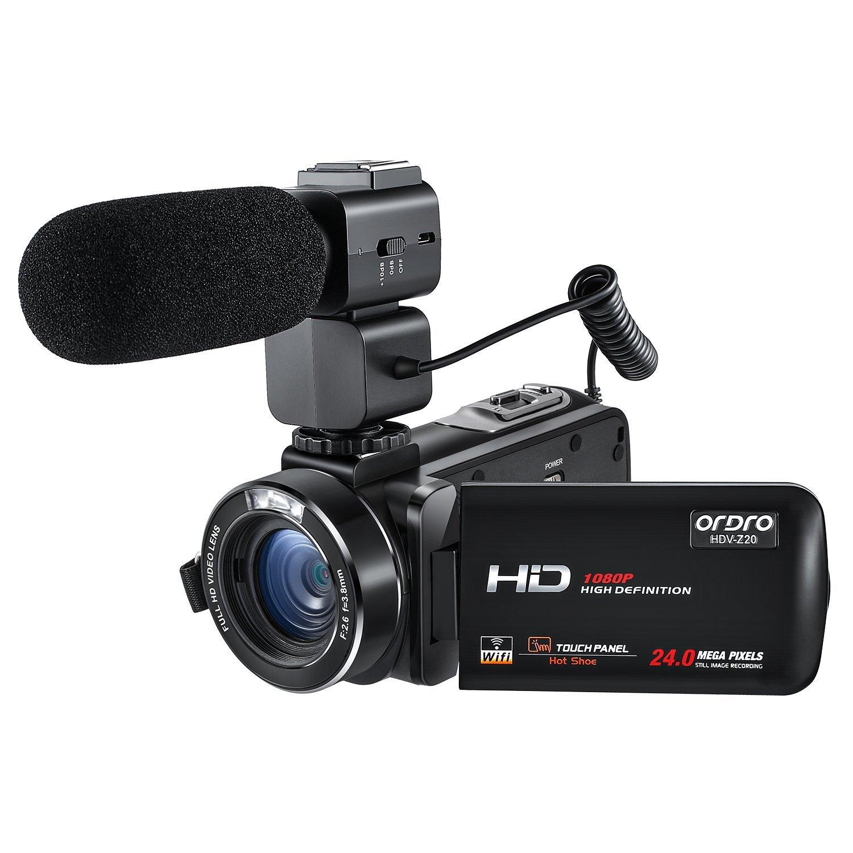 ORDRO Professional 1080P 30FPS Full HD WiFi Cámara de vídeo digital con micrófono externo Videocámara con pantalla táctil de 3,0 pulgadas de rotación Control remoto
