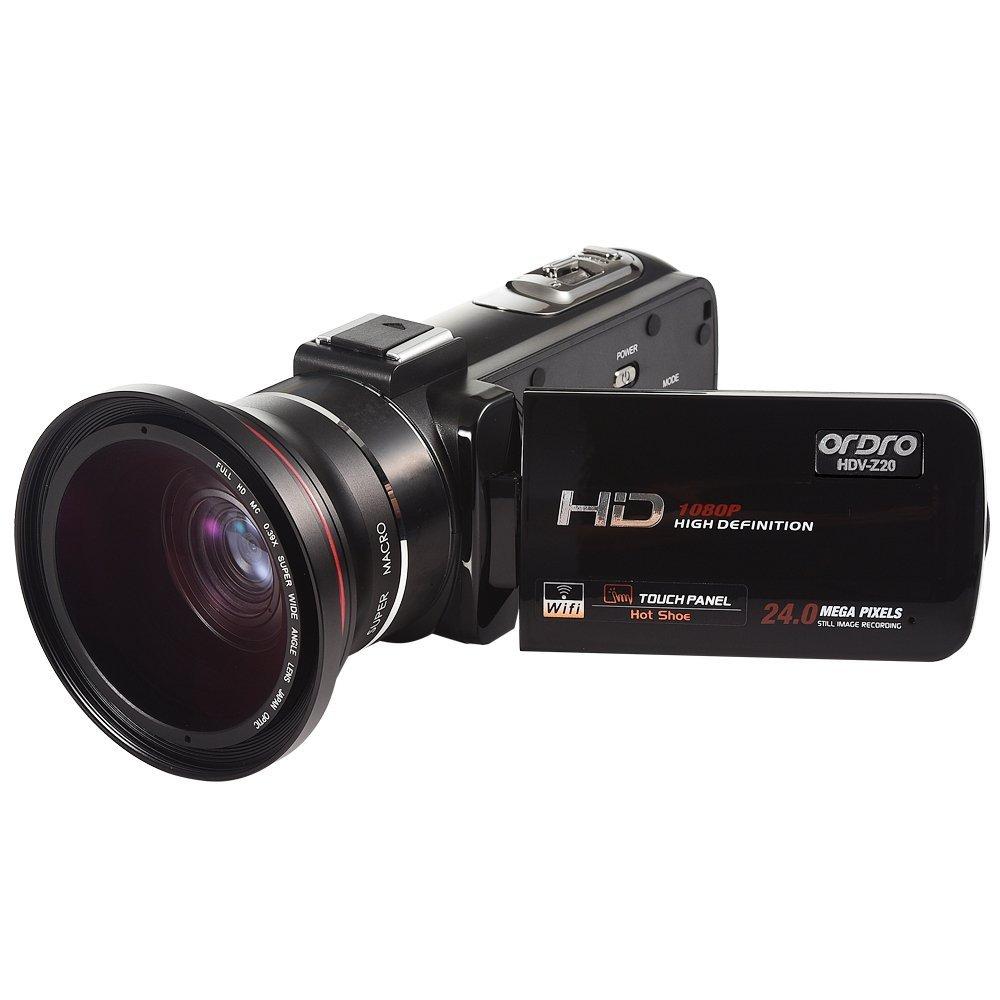 ORDRO Video Cámara Wifi Profesional Full HD 1080P 30FPS Cámara de Video Digital con Micrófono Externo y Lente Gran Angular Control Remoto de Pantalla Táctil LCD de 3.0 Pulgadas (HDV-Z20W)