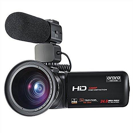 ORDRO Videocámara Wifi profesional Full HD 1080P 30FPS Cámara de video digital con micrófono externo y lente gran angular Control remoto de pantalla táctil LCD de 3.0 pulgadas