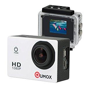 QUMOX SJ4000 - Cámara de Deporte, Video de Alta definición 1080p 720p, Color Blanca, + Carcasa Impermeable