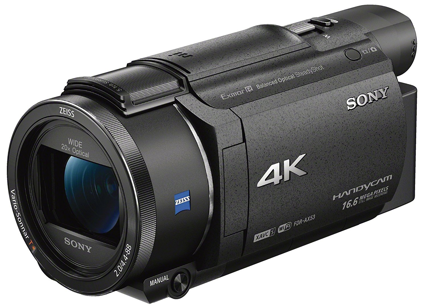 "Sony Handycam FDR-AX53 - Videocámara (pantalla de 3"", con grabación 4K Ultra HD, lente Zeiss Vario-Sonnar de 26,8 mm, zoom óptico de 20x)"