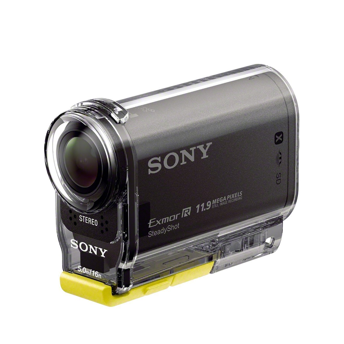 Sony HDR-AS30 Winter Edition - Videocámara deportiva de 16.8 Mp (Full HD, GPS, WiFi, NFC, estabilizador digital), negro - kit con montura de muñeca y diadema de montaje en la cabeza
