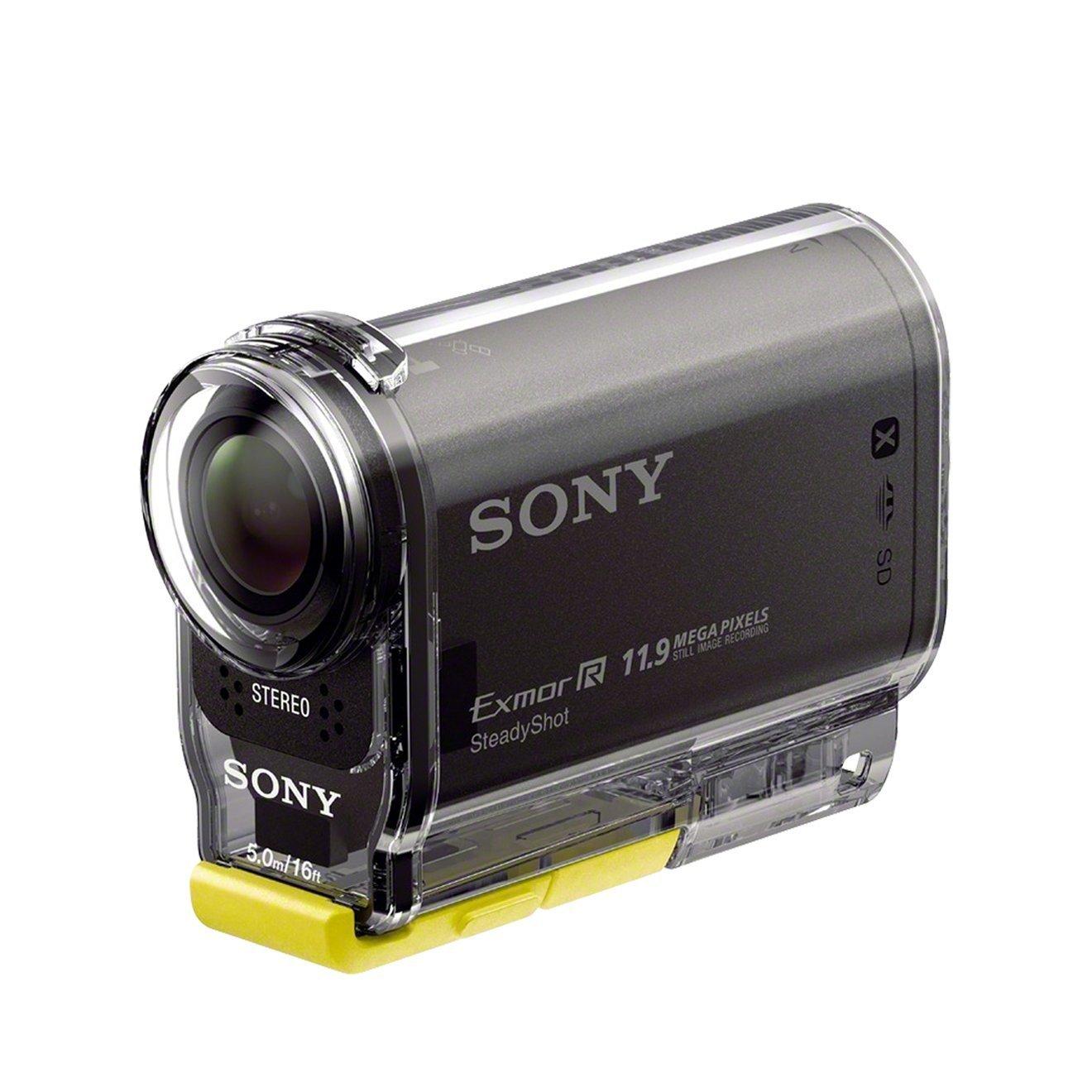 Sony HDR-AS30 Winter Edition - Videocámara deportiva de 16.8 Mp (Full HD, GPS, WiFi, NFC, estabilizador digital), negro - kit con montura de muñeca y diadema de montaje en la cabeza