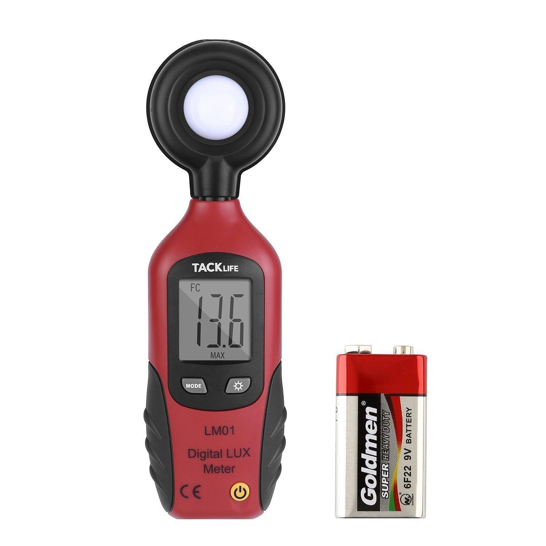 Tacklife LM01 Medidor de Luz con Pantalla LCD, Fotómetro Digital con Dos Unidades ( 0 ~ 20,000 Lux /0 ~ 2,000 FC), Batería Incluida de 9 V, Conservar Datos de MAX / MIN Automáticamente ( Negro y Rojo)