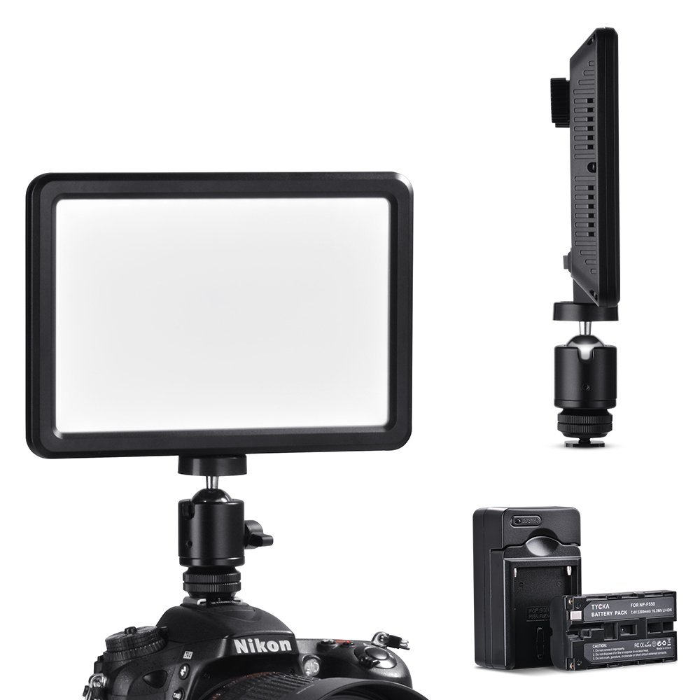 TYCKA, Lámpara portátil de luz de Vídeo para cámara; 104 Leds, ultra-delgada; con batería de 2.200 mAh, Panel de iluminación regulable de luz contínua y progresiva de 16 W, 3000k - 6000k, con cargador de batería, tornillo de 1/4, no produce efecto sombra ni deslumbramientos para DSRL DV Videocámaras