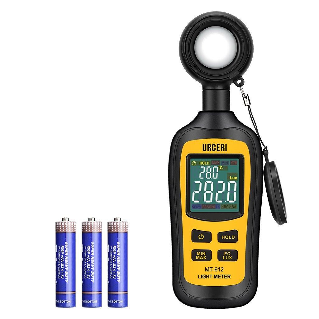 URCERI - Medidor Digital de Luz, Luxómetro Portátil, Medidor de Luminosidad rango 0 -200,000 Lux; 0 ~ 20,000 Fc, con Pantalla LCD a Color de 4 Dígitos, Batería Incluida