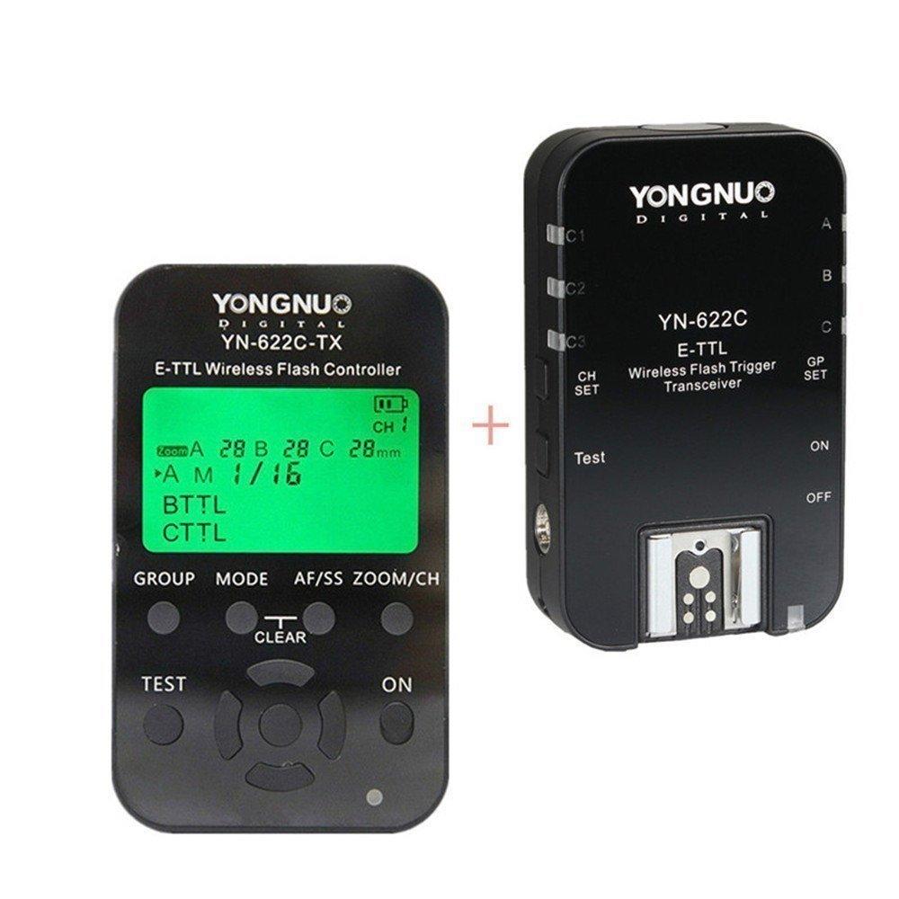 Youngnuo YN-622C-KIT Inalámbrico Disparador E-TTL Kit de Disparo del Flash con Pantalla LCD para Canon, Incluye Un Mando YN622C-TX y Un Transceptor YN622C