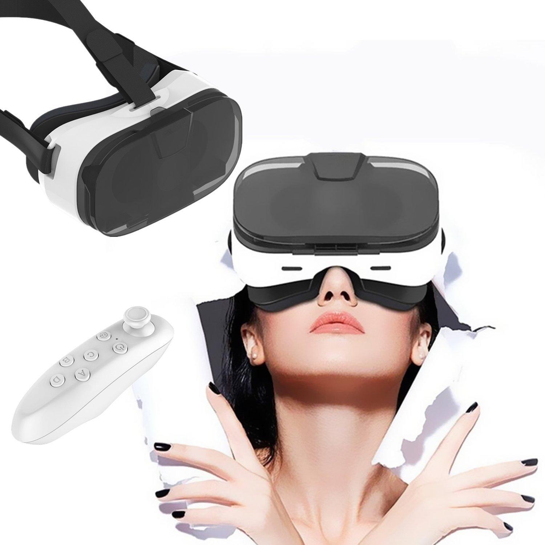 """3d, bevifi VR Gafas de Realidad Virtual Auriculares/auriculares con mando a distancia & Media Cubierta transparente para iPhone 7/7Plus/6/6S Plus/se/5S, Samsung Galaxy S7Edge/S7/S6/A5/A32016y otros 3,5–6,0""""teléfonos móviles"""