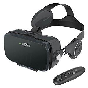 3D VR Gafas , MENGGOOD Gafas de Realidad Virtual con Bluetooth Control Remoto VR Headset Box para Juegos VR et Films en 3D Videos Panorámicos con Auriculares para Smartphones entre 4.0'' - 6.0'' para iPhone Android [Negro]