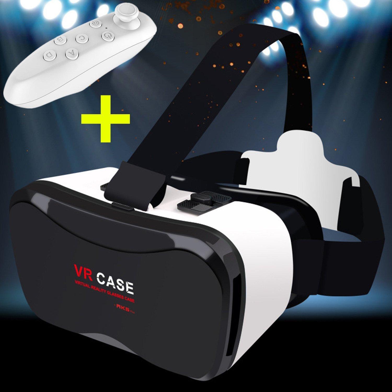 "3d VR gafas/caja, bevifi 3d Realidad Virtual Teléfono móvil 3d películas/juegos visera [versión actualizada] + Bluetooth mando a distancia para iPhone 6/6S/6S Plus/se/5S Samsung Galaxy S7Edge S7/6edge Plus/Nota 7/5J5/J7/A5/A32016y otros 4.0""-6.3'teléfonos móviles"