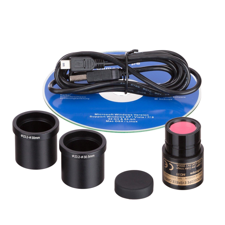 AmScope md35-ck USB todavía Generador de imágenes y video en vivo microscopio cámara Digital + Kit de calibración