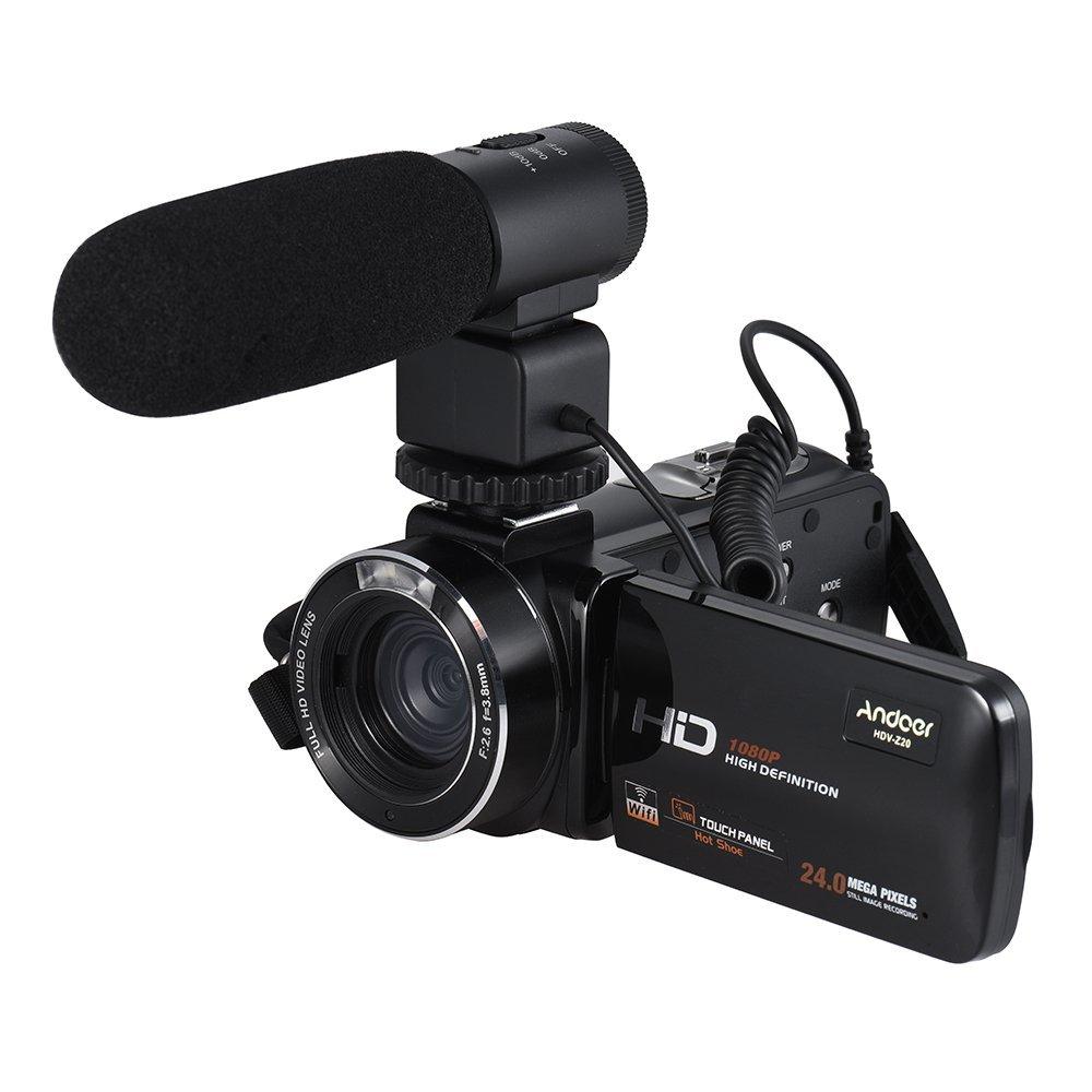 """Andoer HDV-Z20 1080P Full HD 24MP Cámara de Vídeo Digital WiFi con Micrófono Externo 3,0 """" Pantalla Táctil LCD Giratoria Control Remoto Apoyo LED Lámpara 16X Zoom Digital"""