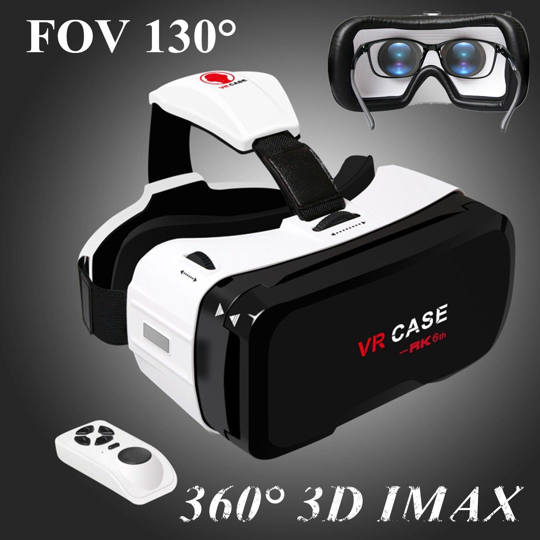 """Auriculares 3D VR con mando a distancia Gafas de realidad virtual para iPhone y Android, Bevifi 3D [FOV 130] para 360 películas y juegos para iPhone X 8 7 Plus Samsung S8 S7 S6 etc 4,7-6,0 """" teléfono móvil"""