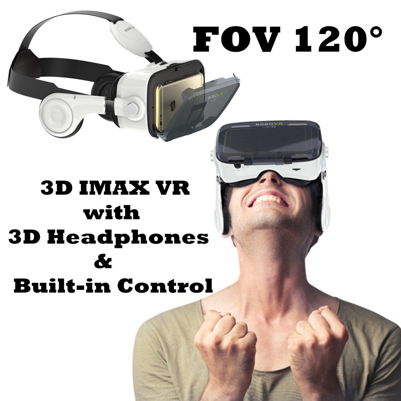 Bevifi 3D VR Gafas de realidad virtual con auriculares para iPhone y Android, con controlador integrado para iPhone X 8 Plus, Samsung S8 S7 Edge, etc. 4,7-6,0 pulgadas Smartphone