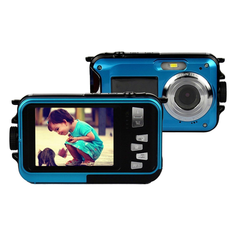 Cámara Subacuática Stoga CGT001 Pantallas Dobles Impermeable Digital Cámara Vídeo 1.8 Pulgadas LCD Frontal LCD con de 2.1 Pulgadas Cámara Easy Shot Automática - Azul