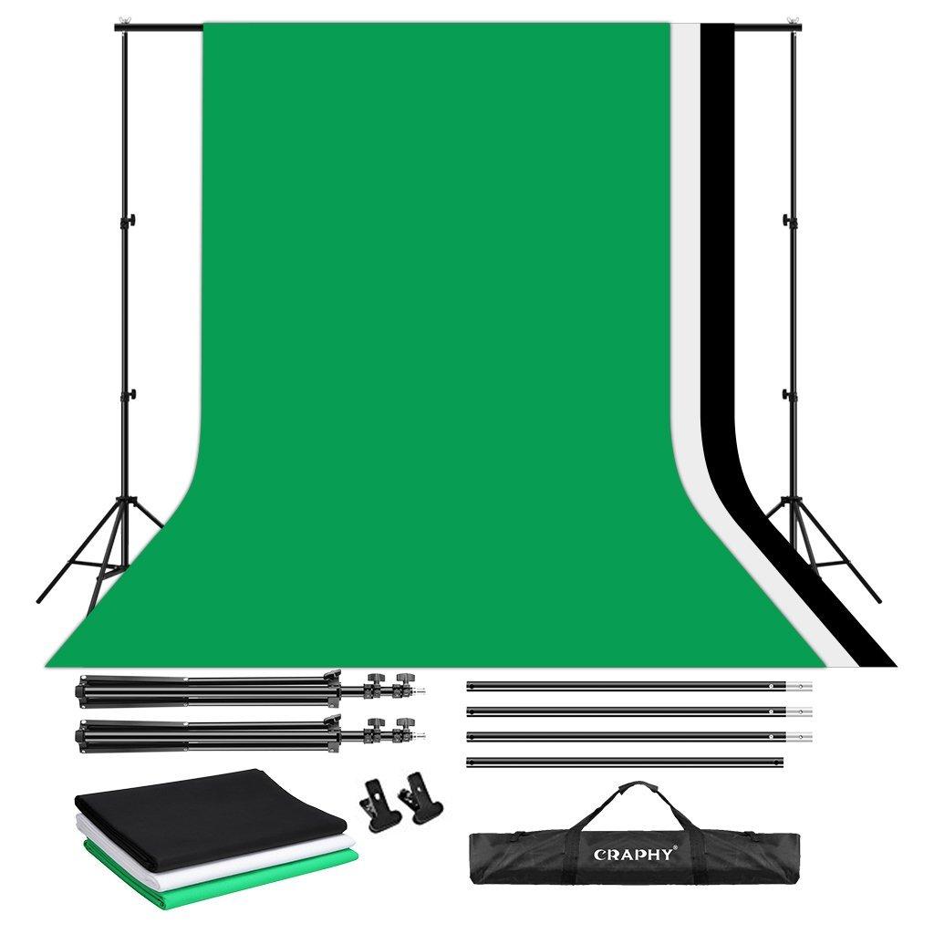 CRAPHY Estudio de Fondo de algodón de Muselina de apoyo del kit de Soporte Kit de Fondo - 3Mx2M Sistema de apoyo de Fondo + 3x9ftx6ft telón de Fondo (negro verde blanco) + 2 abrazaderas + Bolsa de transport