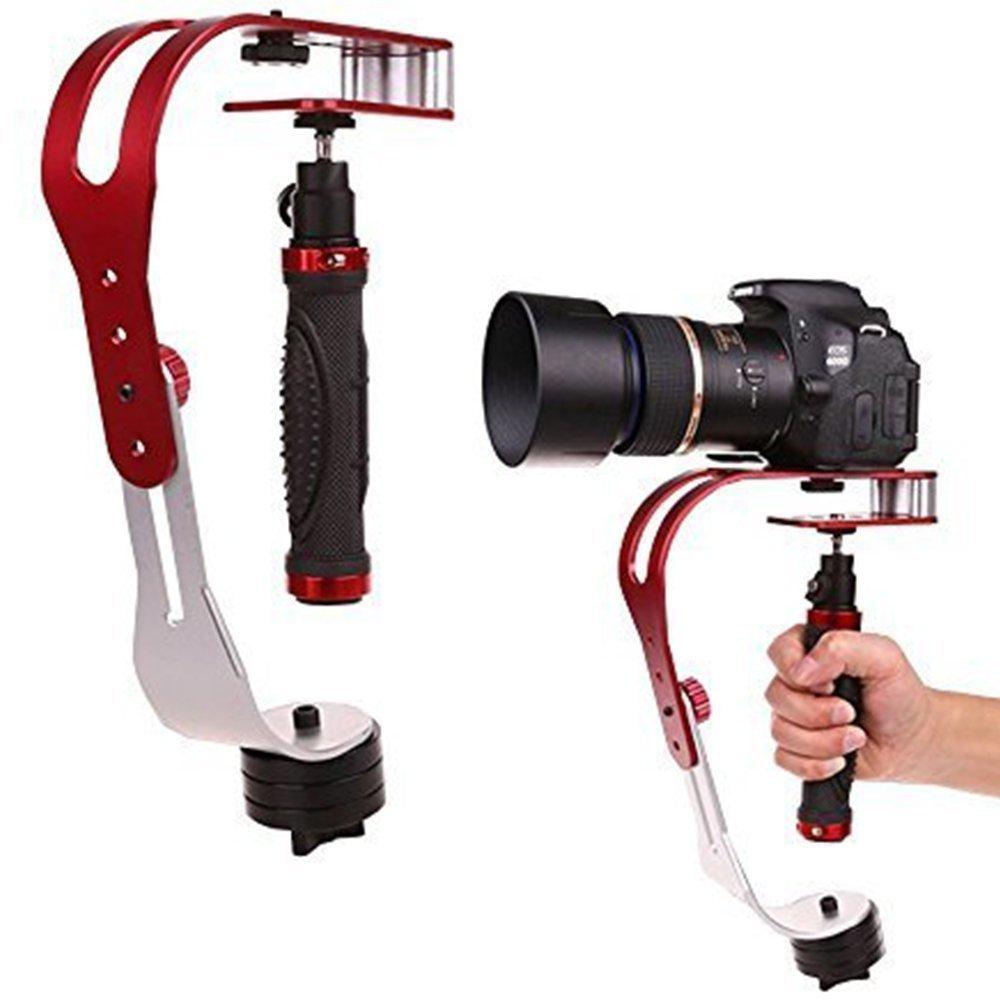 Estabilizador, CAM-ULATA Profesional Mini Portátil Steadycam Vídeo Estabilizador de Mano de Aleación de Aluminio para Gopro Canon Sony Nikon Pentax DSLR SLR DV Cámara Digital Smartphone Móvil Videocámara Hasta 2,1 libras, Rojo
