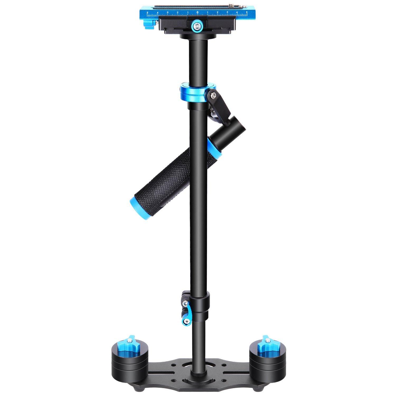 Estabilizador de mano de aleación de aluminio de 60 centímetros con tornillo de 1/4, 3/8 pulgadas, placa de conexión rápida, para Canon, Nikon, Sony y otras cámaras réflex y cámaras digitales de vídeo DV de hasta 3 kg, color negro y azul