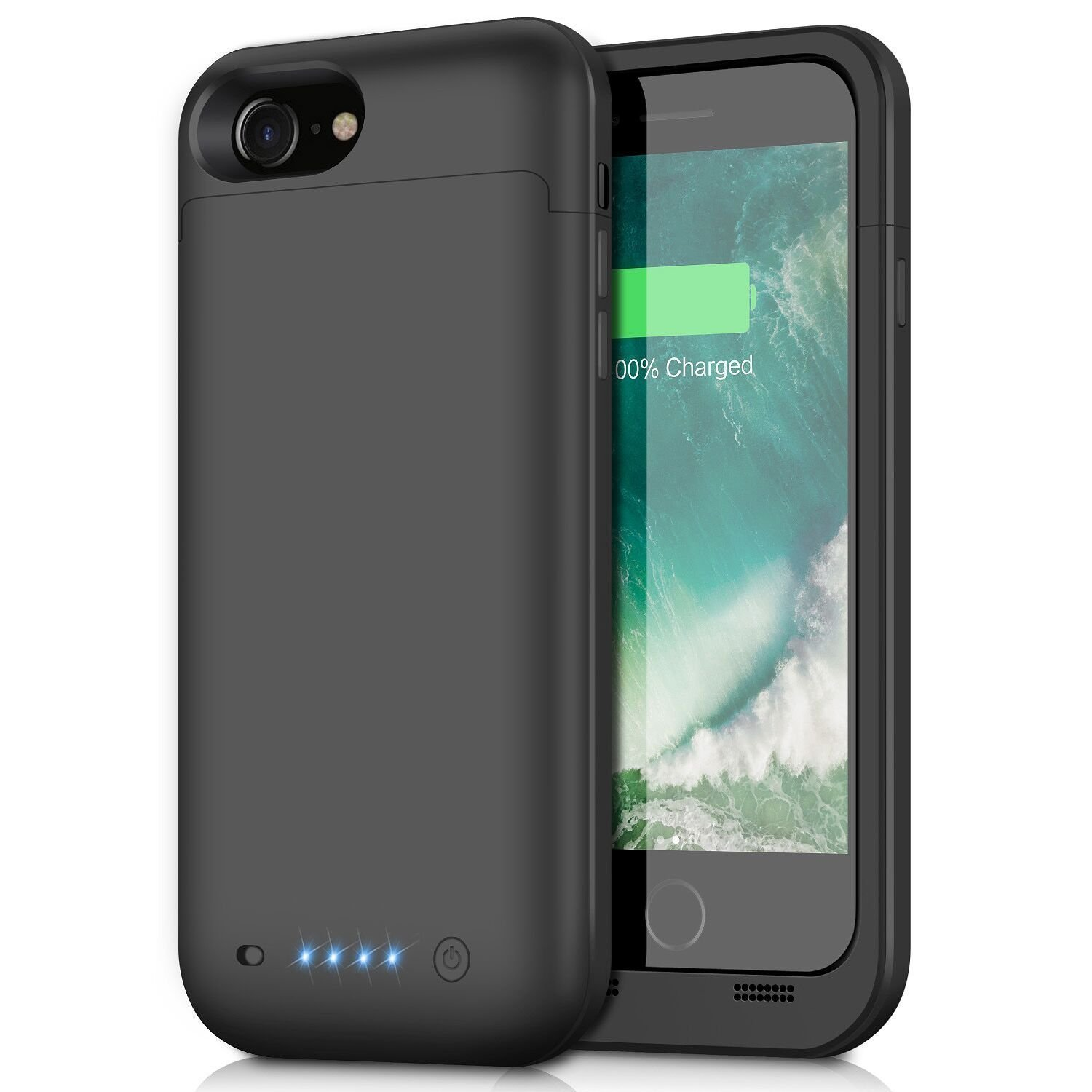 "Funda Bateria iPhone 8/7, 4500mAh Batería Cargador Externa Ultra Recargable Battery Case Portatil Para iPhone 8/7 (4.7"")-Negro"