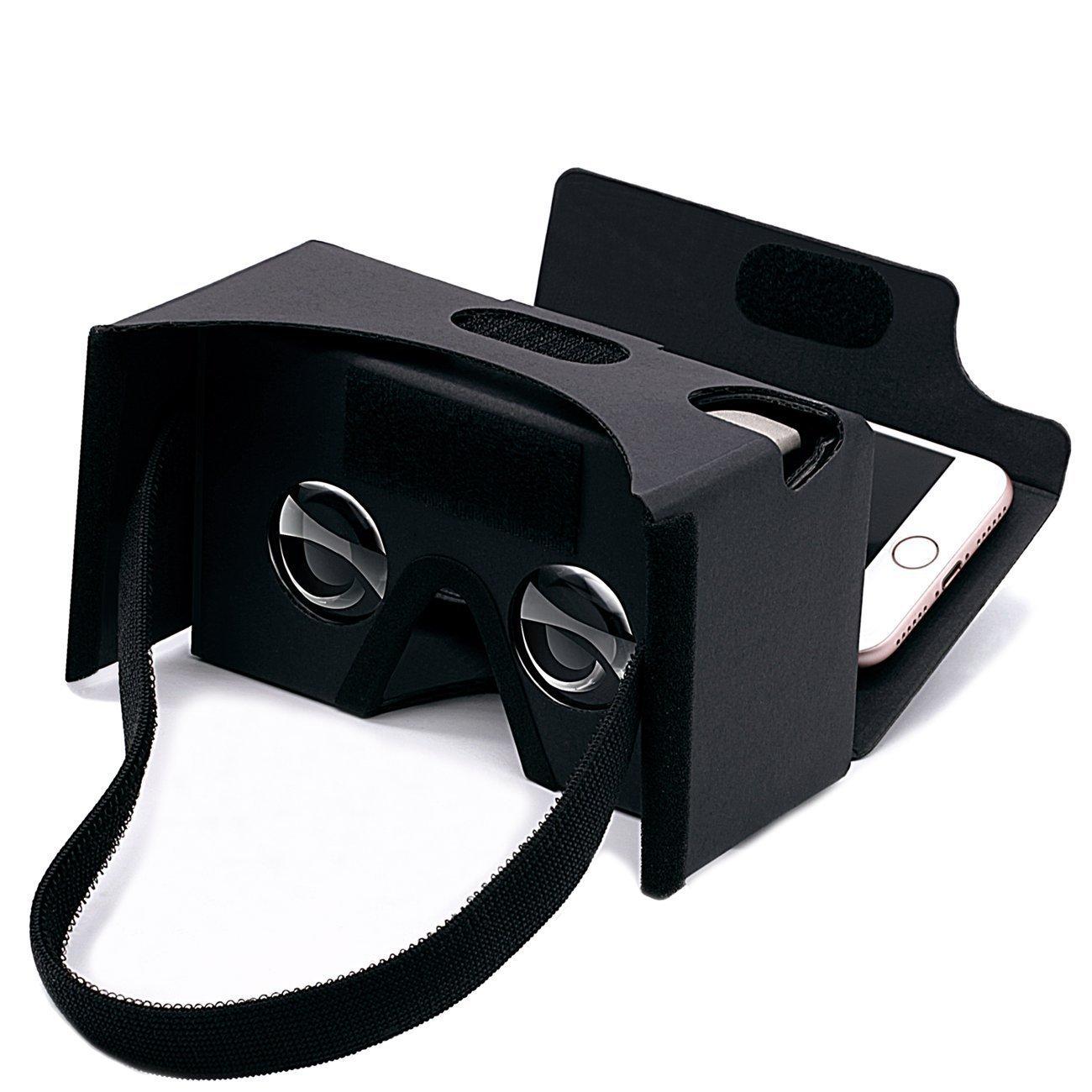 Google gafas de realidad virtual 3D Headset de carton, carton 3-6inch DIY pantalla compatible con Apple y Android Smartphone (negro)