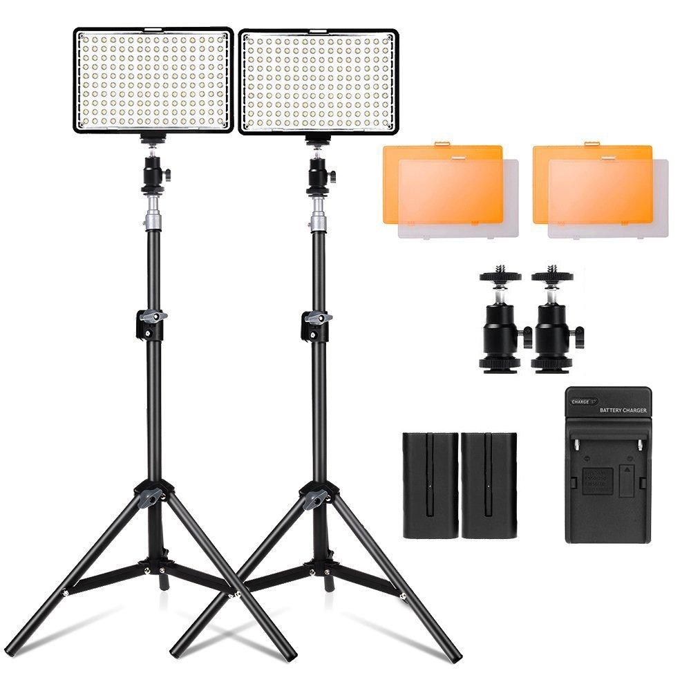 """Kit de LED iluminación para Canon Nikon Sony, Yeeteem 160 Regulable Ultra High Power Panel Cámara digital / videocámara Video Light con soporte de luz de estudio de 79 """"alto y 3200/ 5500KKit de Luces Video de temperatura de color, incluyendo cargador, mini cabezal de bola"""