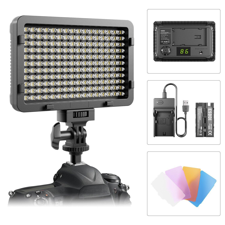 Luz LED de video ,luz ultra brillante regulable de ESDDI 176 LED Panel para Canon, Nikon, Pentax, Panasonic, Sony, Samsung, Olympus y otras cámaras SLR / videocámaras digitales
