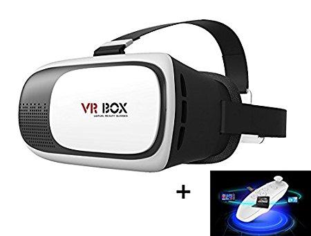 Mactrem Gafas 3D VR para Realidad Virtual | con Control Remoto, Bluetooth | Ajustable | Universales para Móviles de 3.5-6 Pulgadas | para Películas 3D y Juegos de Vídeo
