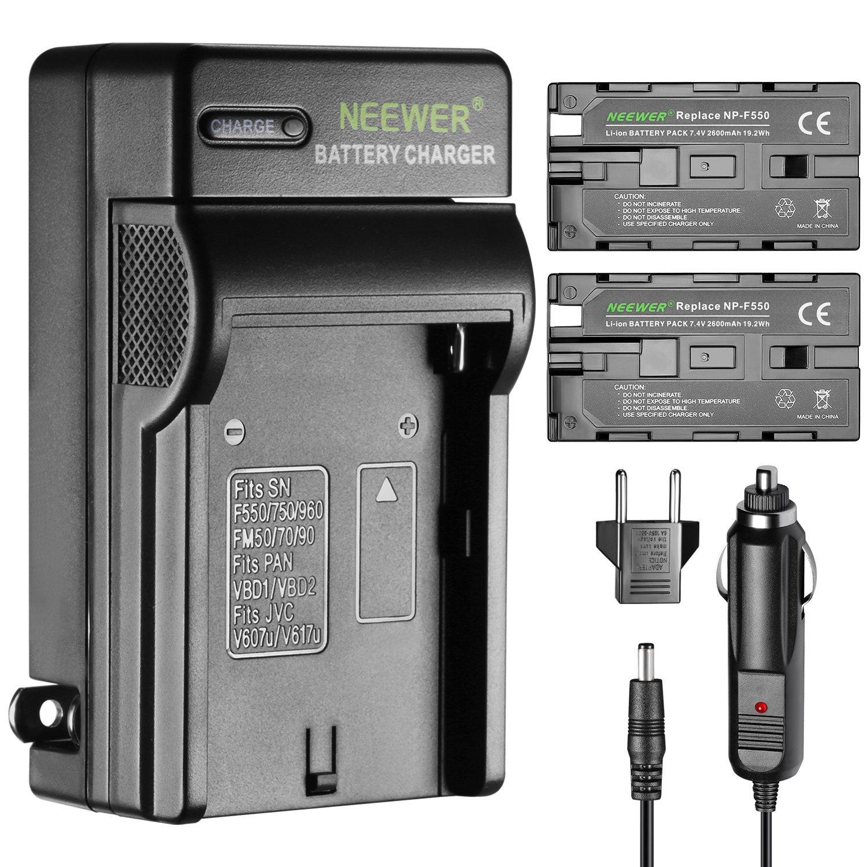Neewer 2 piezas 2600mAh Li-ion batería de reemplazo para Sony F550 y cargador con adaptador de enchufe UE/EE.UU.de coche , para la luz de LED CN-160 CN-216,Monitor campo NW759 74K 760 S7 F7 Feelworld Aputure Bestview