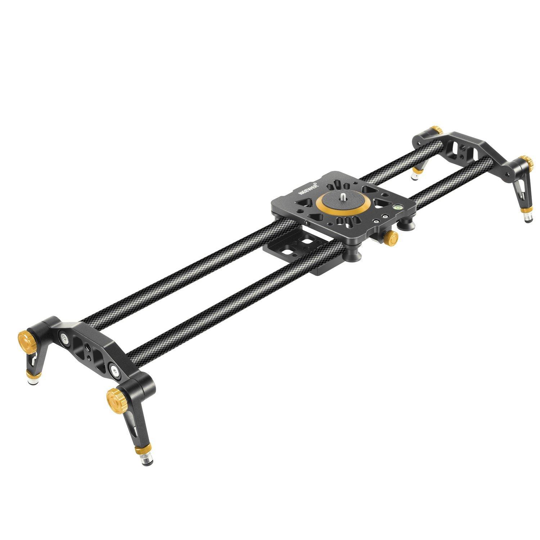 Neewer 23,6 pulgadas/60cm Pista Slider estabilizador Video carril cámara de fibra de carbono con 6 rodamientos para DSLR cámara DV Video Camcorder película fotografía, cargar hasta 17,5 libras/8 kilos