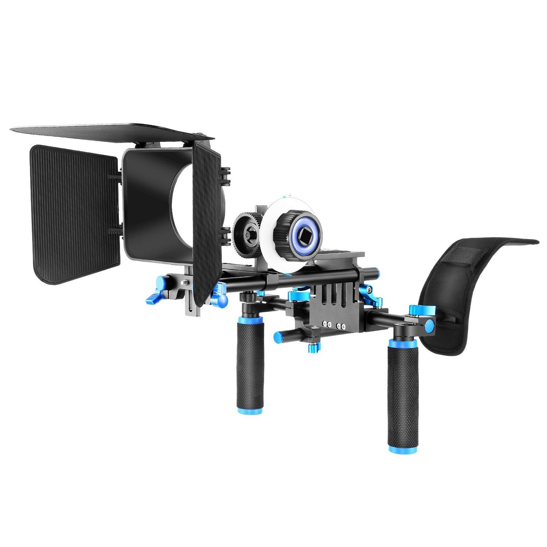 Neewer - Kit para filmación con cámara DSLR, incluyen soporte de hombro + Follow Focus y caja mate para todas las cámaras y videocámaras DSLR